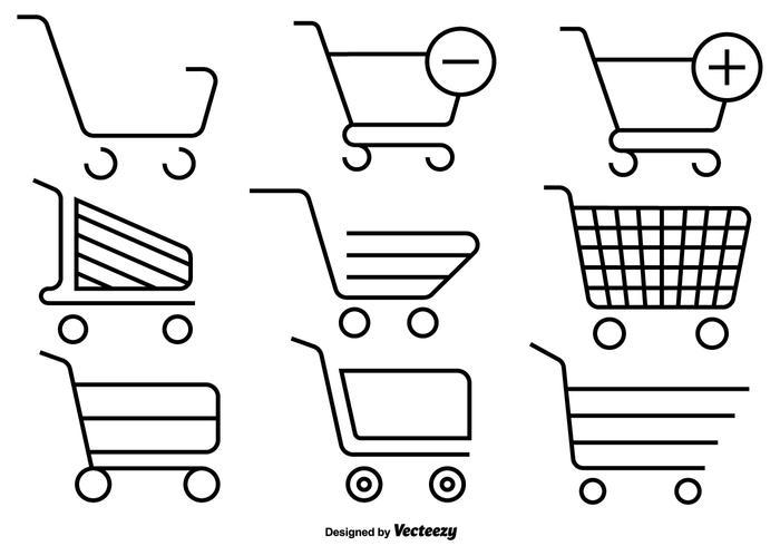 Set di icone di linea del carrello del supermercato vettore