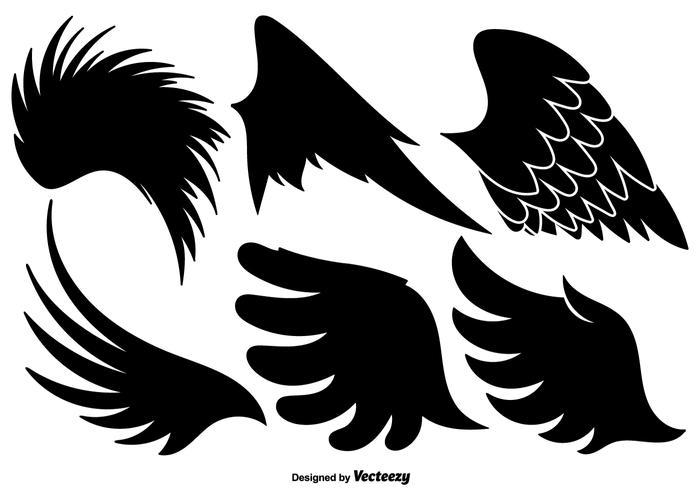 Insieme di vettore delle icone nere delle ali di angelo
