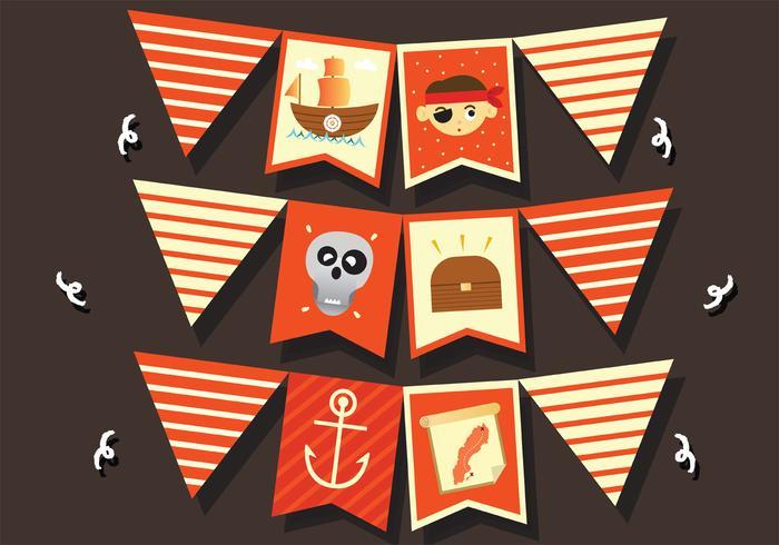 Pacchetto di vettore banner pirata