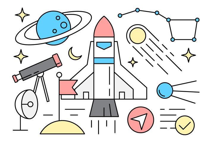 Icone dello spazio lineare gratuito vettore
