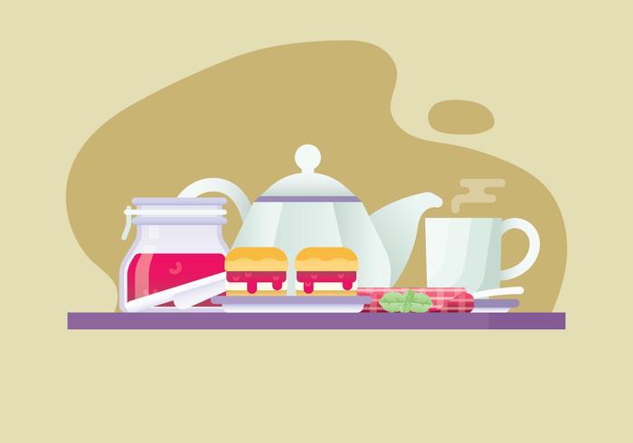 Illustrazione di tè pomeridiano gratis vettore