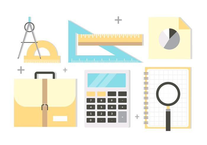 Accessori scuola gratis Design piatto vettoriale