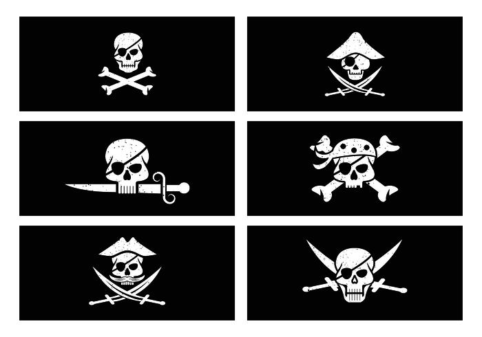 Bandiera del pirata nel vettore di stile di lerciume