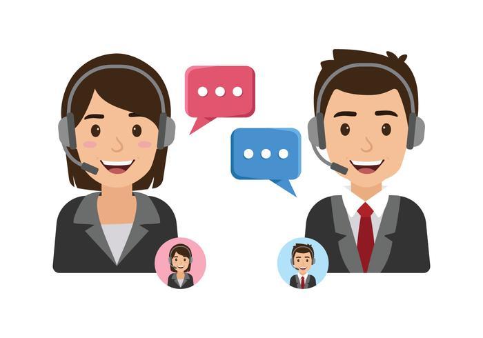 Servizio clienti femminile e maschile vettore