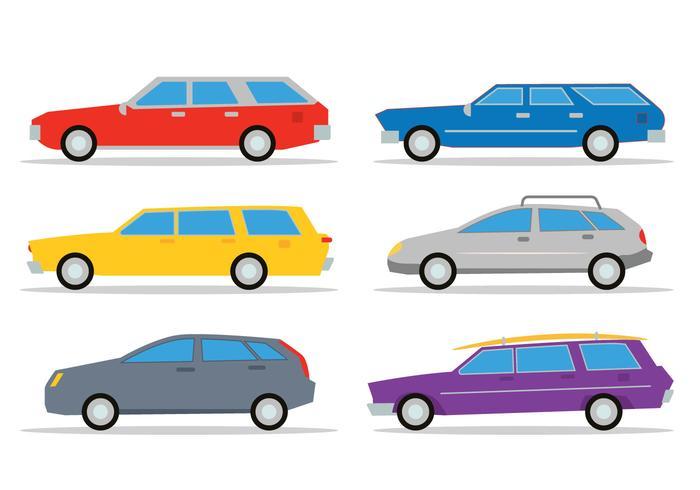 Set vettoriale di station wagon
