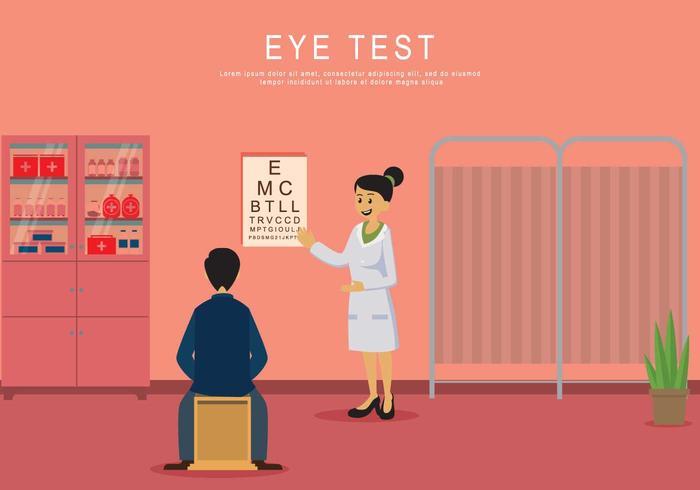 Uomo che fa la prova dell'occhio sull'illustrazione della clinica vettore