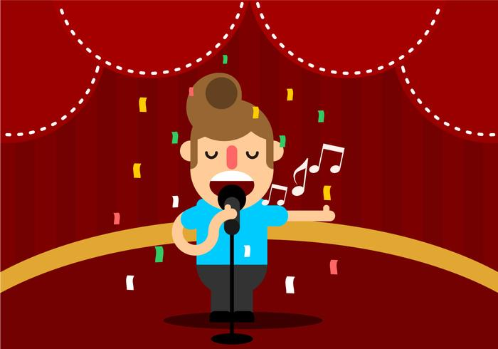 Giovane che canta in scena vettoriale
