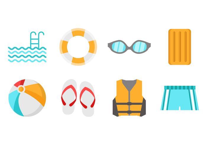 Vettore delle icone della piscina