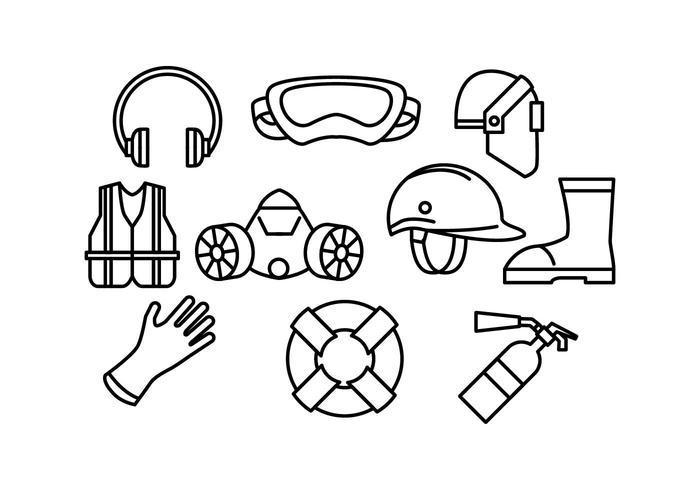 Linea di vettore dell'attrezzatura protettiva dell'icona