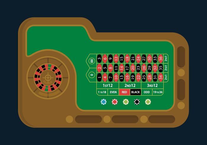 Illustrazione del tavolo della roulette vettore