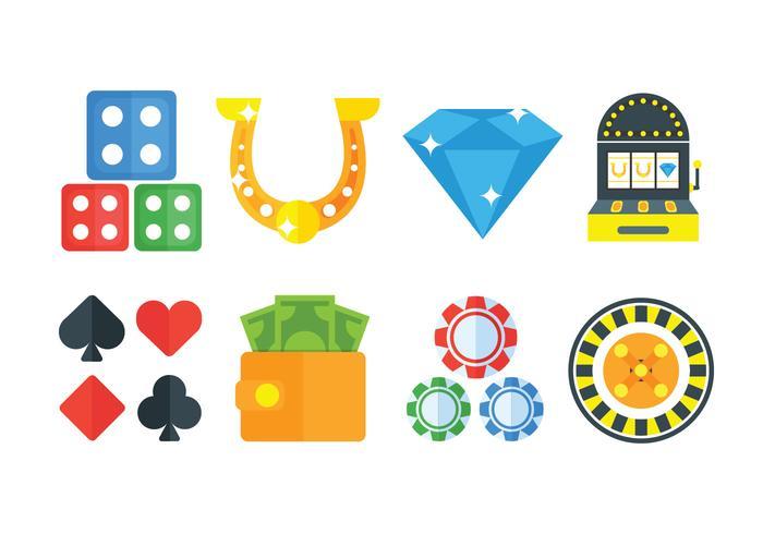 Set di icone di gioco d'azzardo vettore