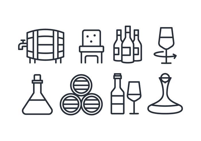 Icone del vino linea piatta vettore