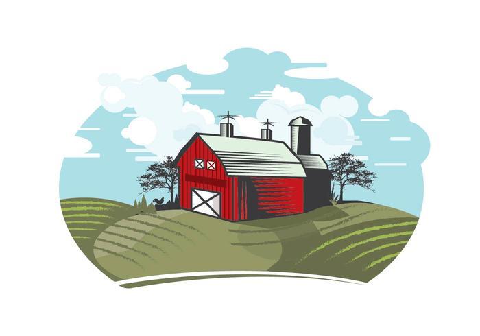 Illustrazione di granaio rosso vettore