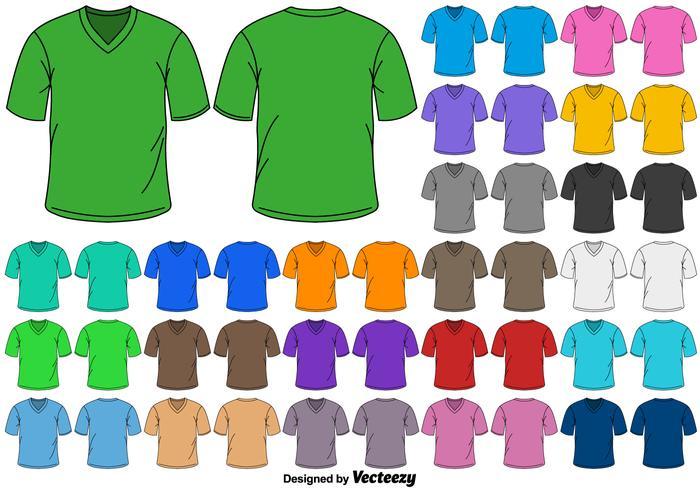 Insieme di vettore delle magliette del collo a V di colore