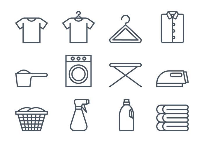 Set di icone di lavanderia vettore
