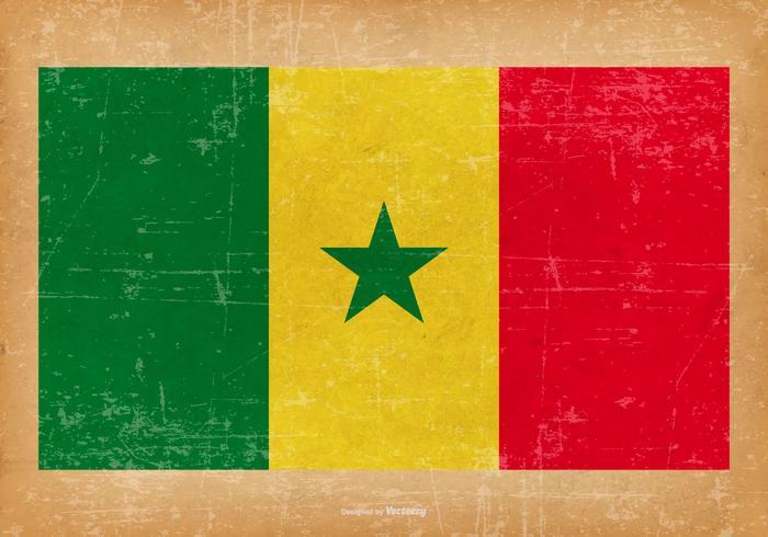 Bandiera del grunge del Senegal vettore
