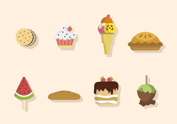 Vettori di dessert piatto