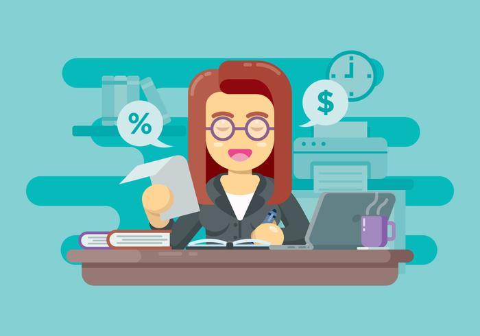 Ragioniere finanziario che fa rapporto illustrazione vettore