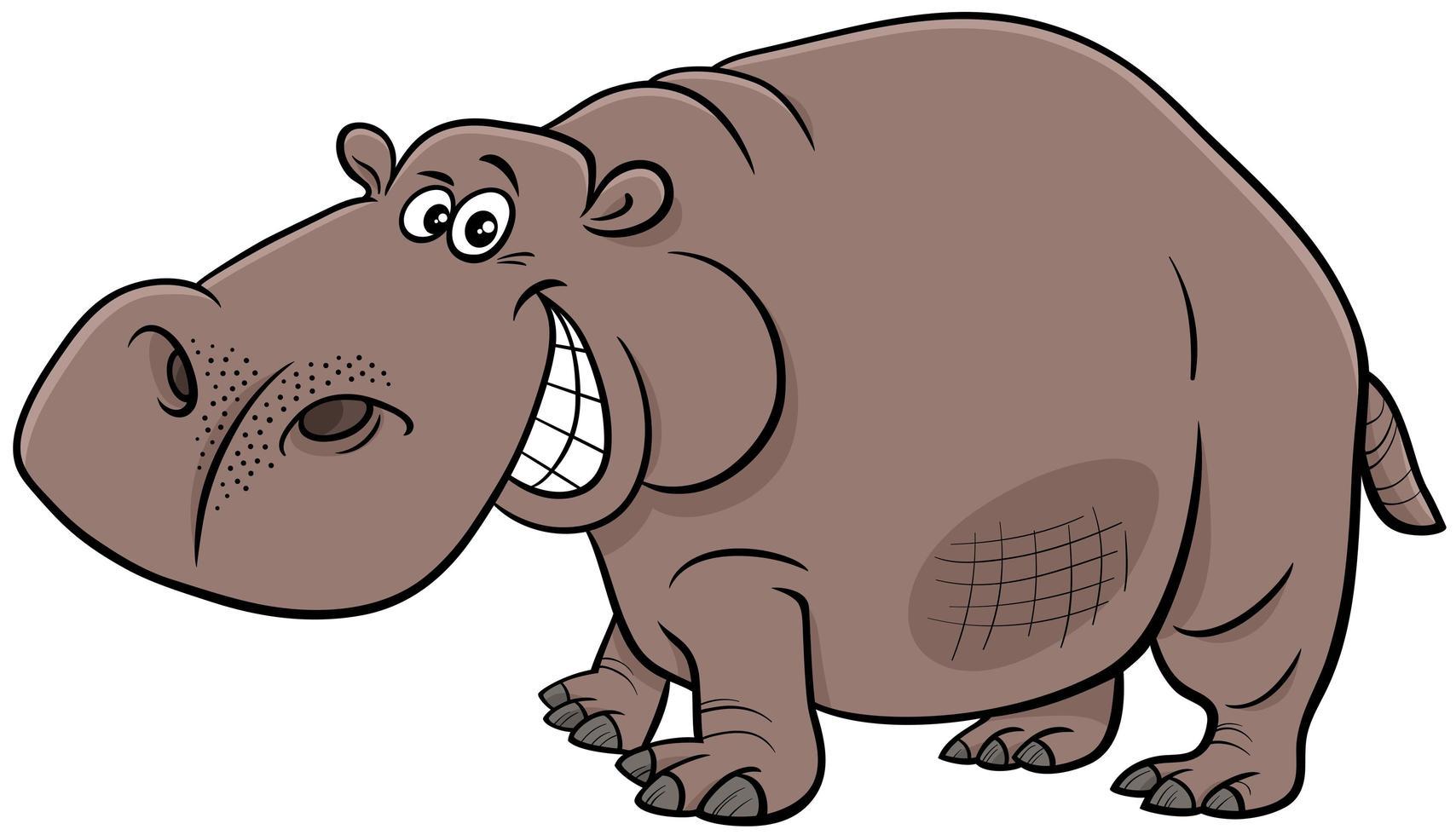 personaggio dei cartoni animati ippopotamo animale selvatico vettore