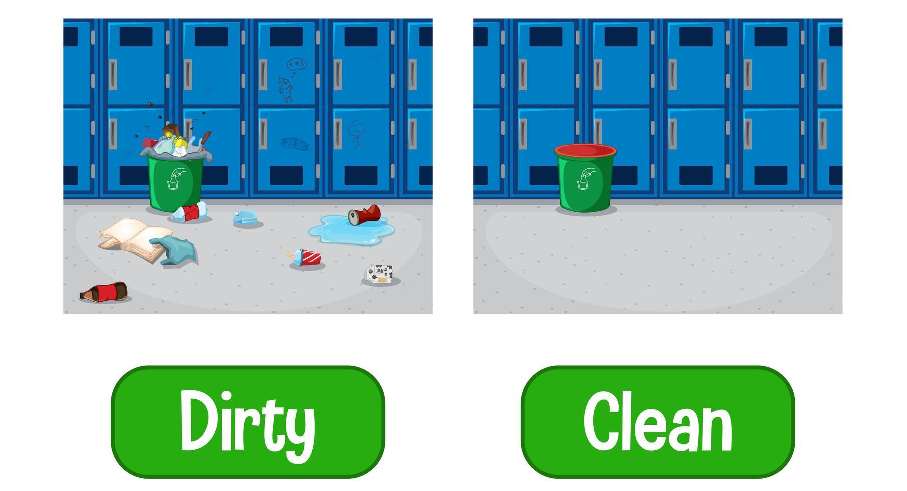 aggettivi opposti parole con sporco e pulito vettore