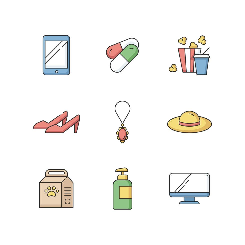 shopping online rgb set di icone di colore vettore