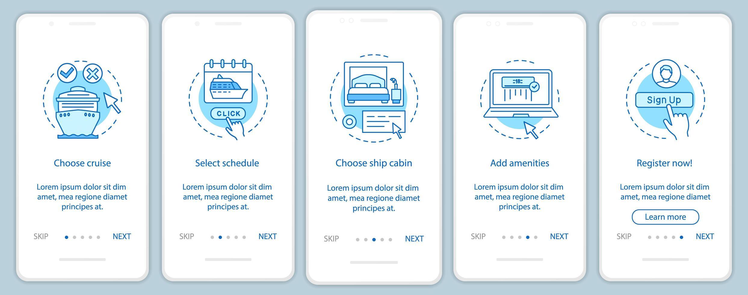 pagina dell'app mobile per la prenotazione di crociere online vettore