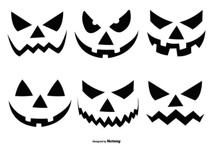 Collezione di facce di zucca di Halloween vettore