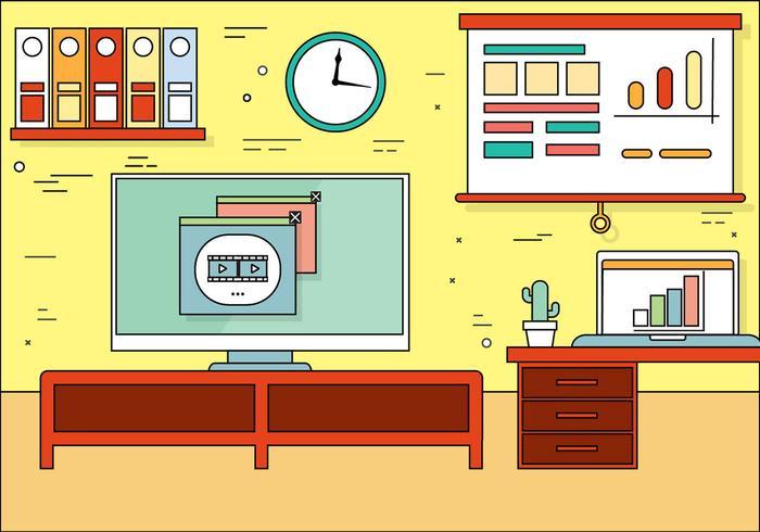 Illustrazione piana libera della stanza dell'ufficio di vettore di progettazione