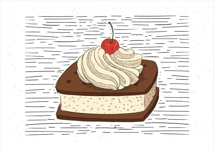 Illustrazione di torta di vettore disegnato a mano libera