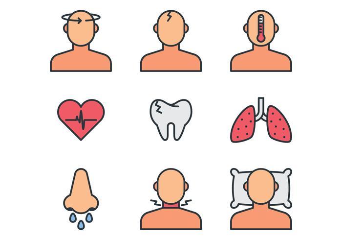 Icone dei sintomi della malattia vettore