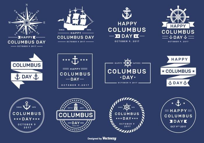 Distintivi e distintivi di vettore felice Columbus Day 2017