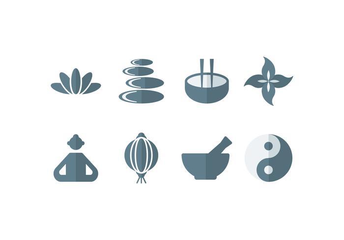 Meditazione, yoga, zen, buddha set icone vettore