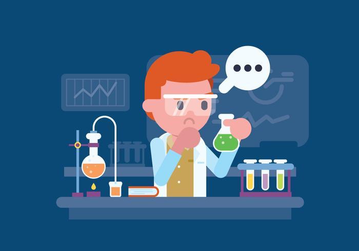Scienziato che lavora all'illustrazione del laboratorio vettore