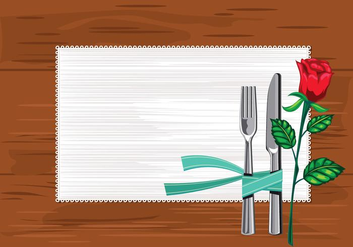 Modello Primo piano del piatto con coltelli e forchetta e un tovagliolo sul tavolo vettore