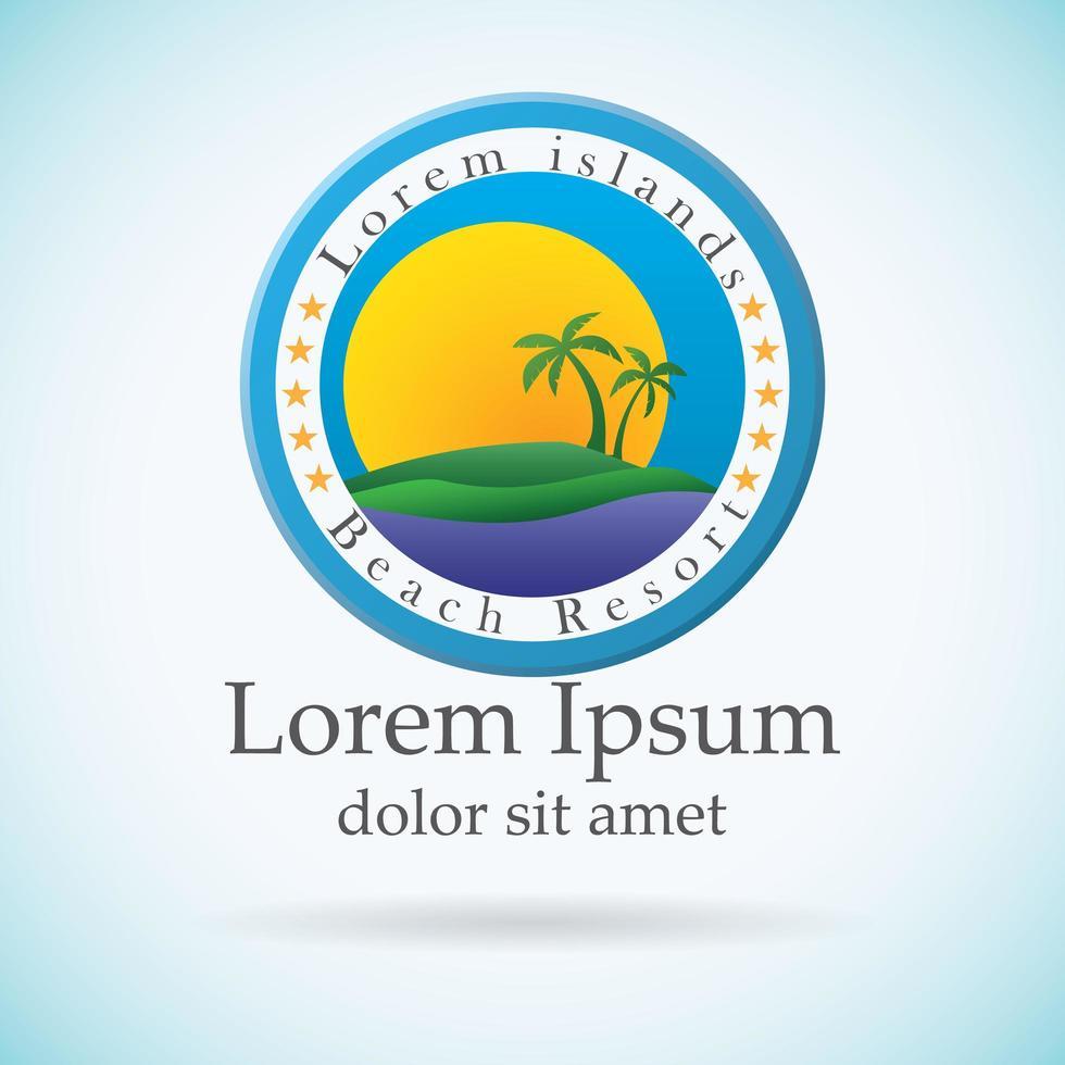 palme e sole, logo del resort sulla spiaggia vettore