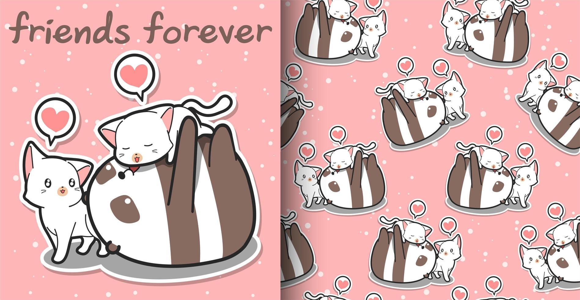 modello di cartone animato panda e gatto kawaii senza soluzione di continuità vettore