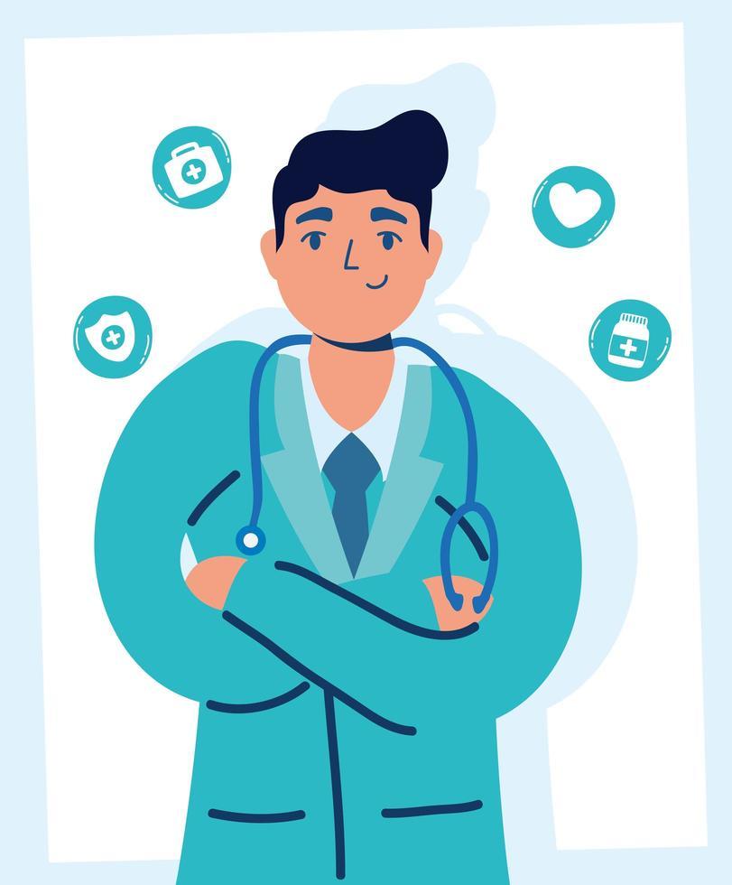 bel medico maschio con icone mediche vettore