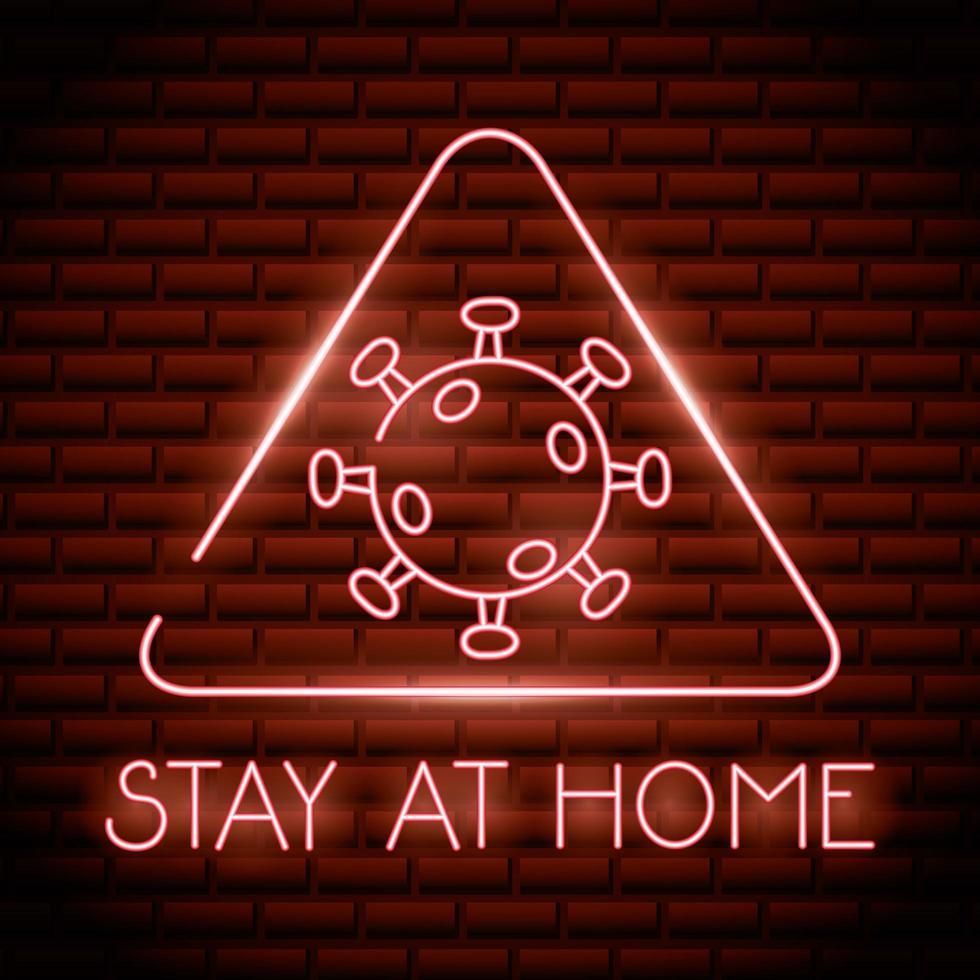 resta a casa, insegna luminosa al neon del coronavirus vettore