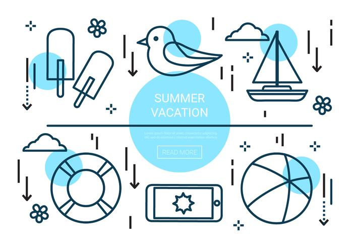 Elementi vettoriali di vacanze estive lineari gratuiti