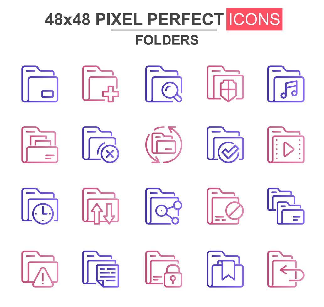 set di icone di sottile linea di cartelle vettore