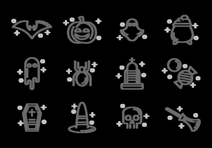 Vettore delle icone di Halloween