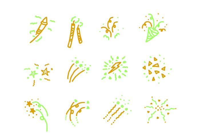 Set di icone di fuochi d'artificio vettore