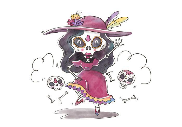 Carattere carino Catrina Ballando e sorridendo per Dia De Muertos Vector