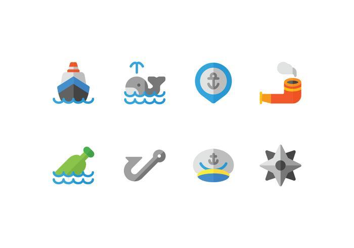 Set di icone piane di porto vettore