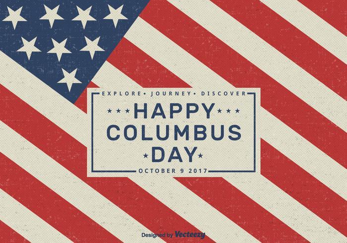 Felice Columbus Day 2017 Vector Retro Greeting Card