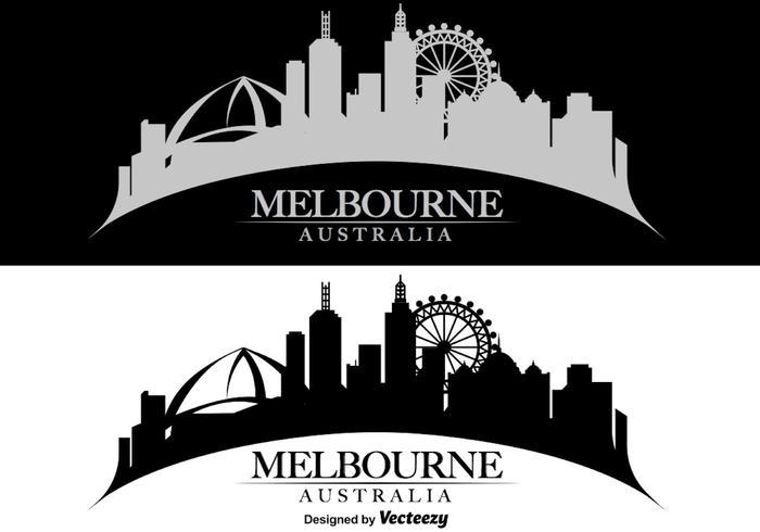 Melbourne Skyline Illustration vettore