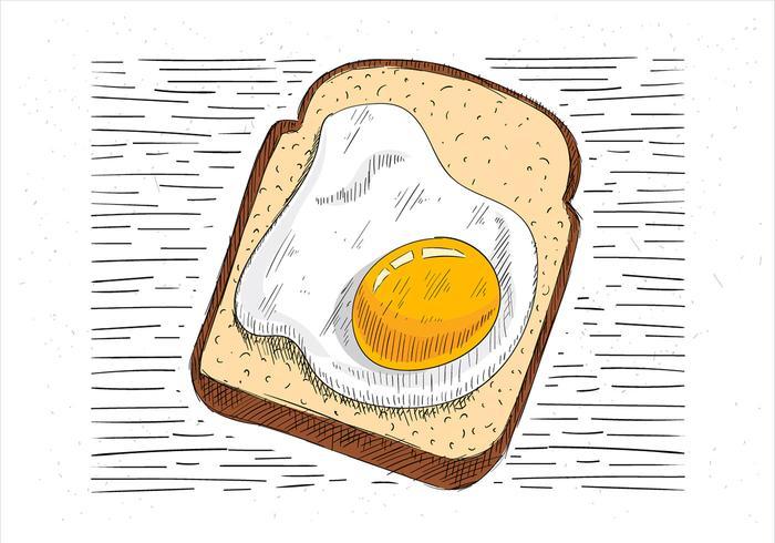Illustrazione disegnata a mano del pane tostato vettore