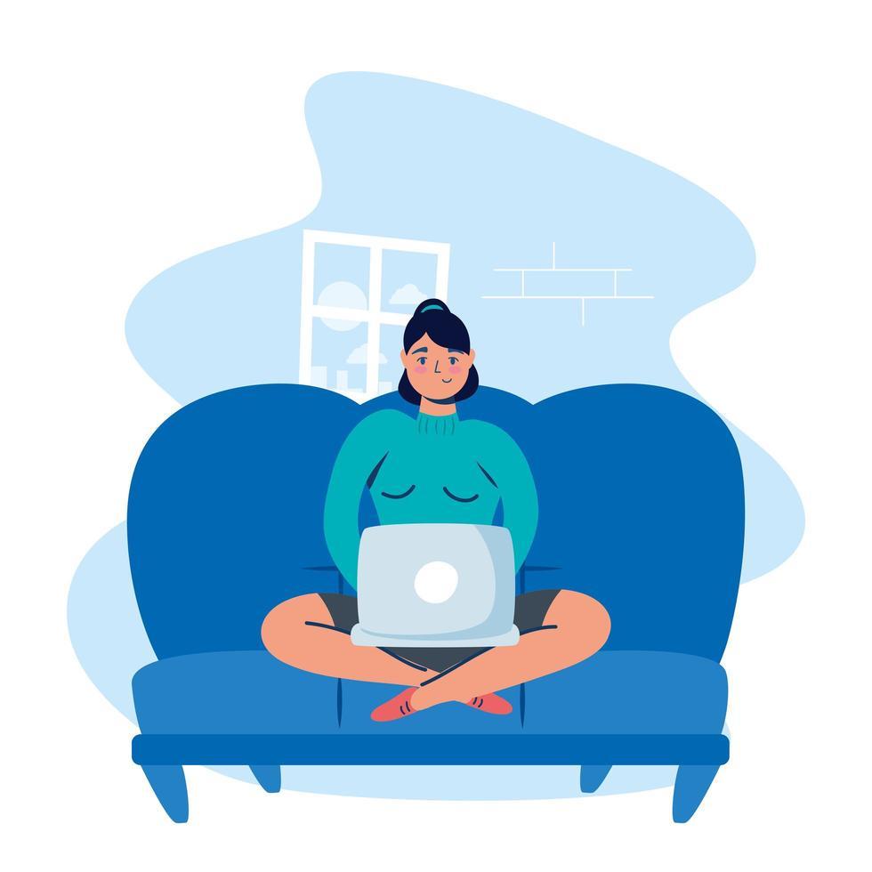donna che utilizza il computer portatile a casa vettore