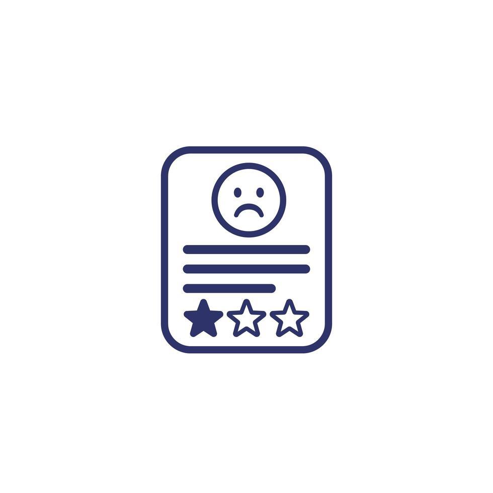 icona recensione negativa su bianco vettore