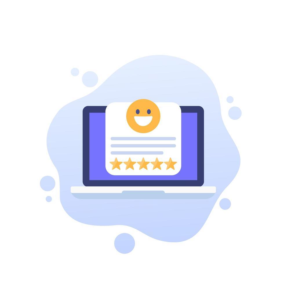 buona icona recensione con laptop vettore